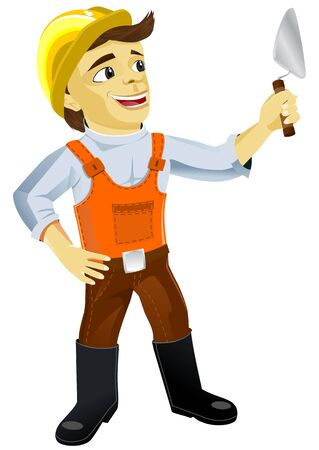plasterer: Plasterer with a trowel