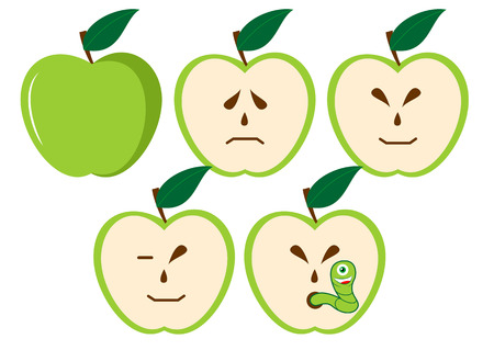 suprise: Green apples with different characters Illustration