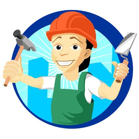 plasterer: Cheerful plasterer with a trowel and hammer Illustration