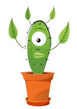 suprise: Green one-eyed cactus with leafs Illustration