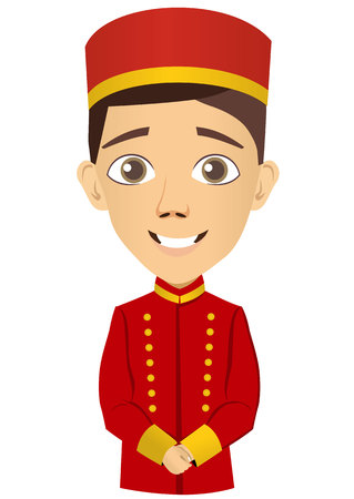 bellhop: Illustration of young bellhop waiting for the client Illustration