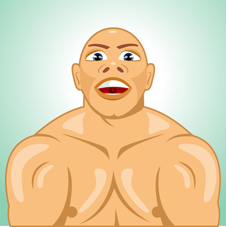 eyes wide open: illustration of bald bodybuilder straining muscles with eyes wide open