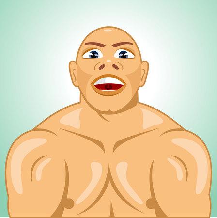 occhi sbarrati: illustrazione di bodybuilder calvo sforzare i muscoli con gli occhi ben aperti