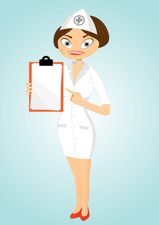 index finger: illustration of  beautiful friendly and confident nurse smiling pointing her index finger to clipboard