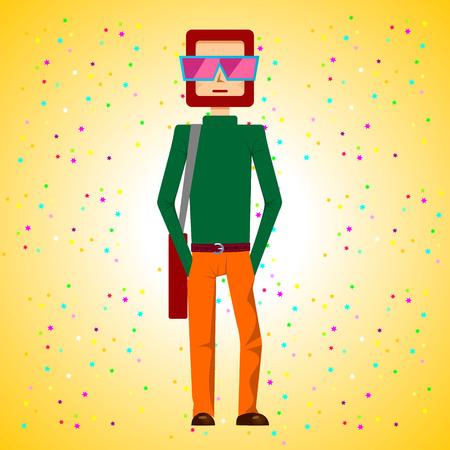 young man standing: illustrazione di barba giovane uomo in piedi con le mani in tasca e con borsa in spalla