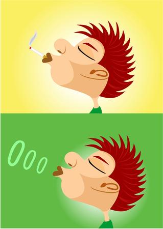 smoking cigarette: illustration of boy smoking cigarette and blowing smoke rings Illustration