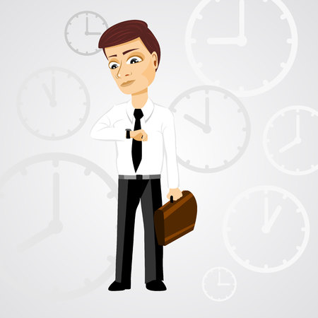 illustration of business man with briefcase checking time Vector