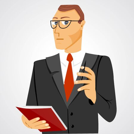 ball pen: illustration of business man with glasses standing with business diary and ball pen staring