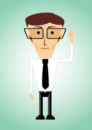 finger pointing up: illustration of cartoon character of business man with glasses pointing his index finger up