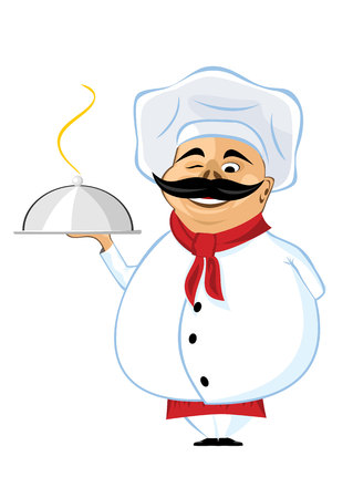 frendly: illustration of smiling frendly chef with mustache holding silver serving dome Illustration