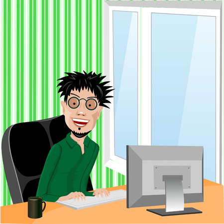 workaholic: crazy smiling programmer with glasses and wild hair sitting in computer chair working with computer at home in living room