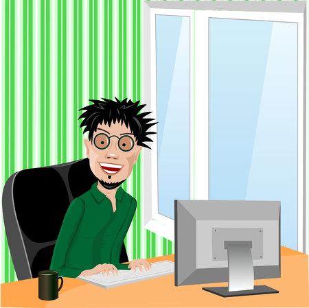 wild hair: programmatore sorridente pazzo con occhiali e capelli selvaggi seduta in sedia del computer lavora con il computer a casa nel salotto