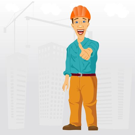 inspector: illustration of friendly smiling construction project engineer with helmet on his head giving thumbs up Illustration