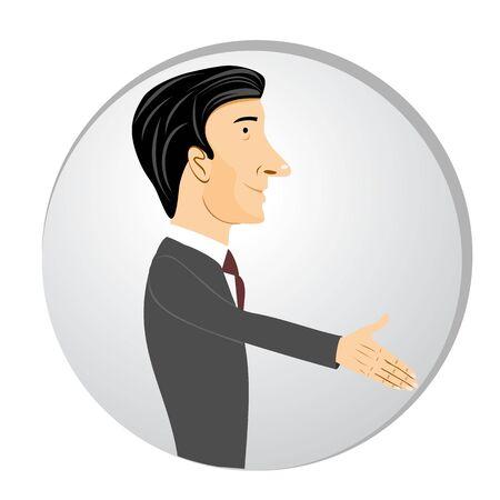 illustration of businessman extending his hand for a handshake