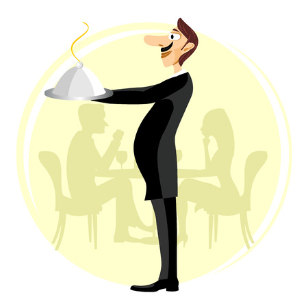 holding nose: illustration of funny smiling waiter with a big nose and a mustache holding silver serving dome with arms stretched forward Illustration