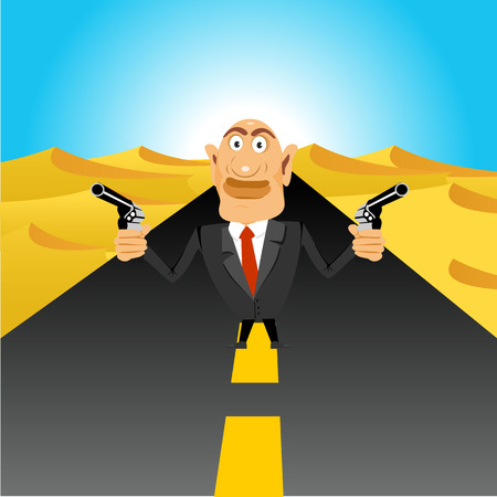 handguns: illustration of brutal gangster standing in the middle of the road in the desert holding handguns