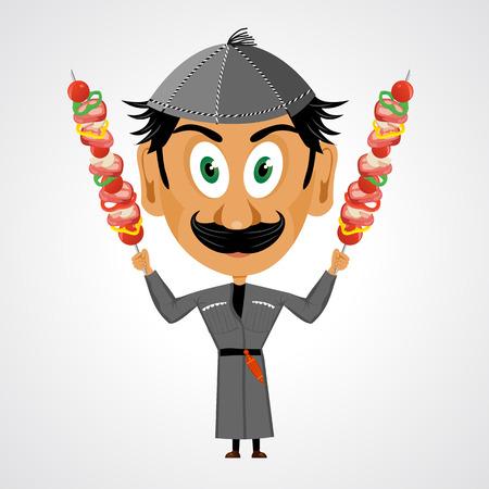 georgian: illustration of funny cartoon georgian with mustache and big eyes holding kebab Illustration