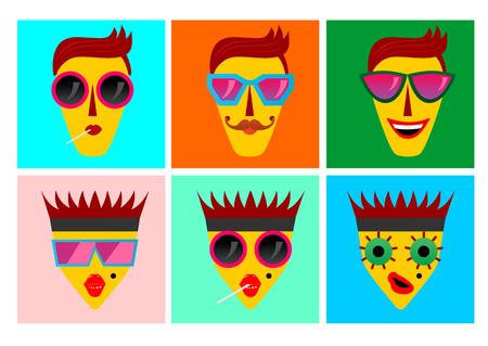 spot the difference: illustration of facial expressions of funny characters with sunglasses