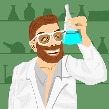 medical assistant: Illustration of lab assistant holding bunsen flask in laboratory and staring at blue fluid