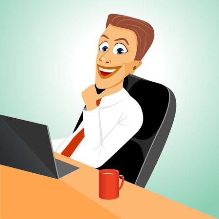 relajado: feliz hombre de negocios joven relajado sentado en la oficina con el ordenador port�til con una sonrisa Vectores