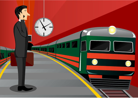 businessman shoes: illustration of  businessman with briefcase talking on the phone and waiting for the train Illustration