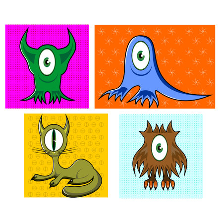 one eyed: illustration of cartoon funny one eyed colorful animals namely, owl, cat and seal