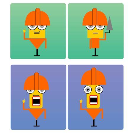 plasterer: illustration of cartoon plasterer characters with orange helmet on their head in poses