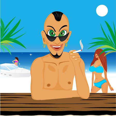 macho: illustration of smiling macho sitting at a table  on the beach with sunglasses and cigarette surrounded by beautiful girls