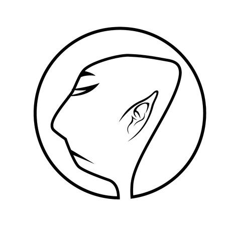 buddhist monk: black and white illustration of profile of buddhist monk