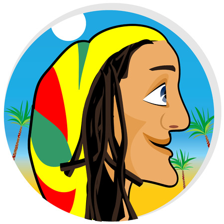 looking forward: profile illustration of smiling rastafarian looking forward Illustration