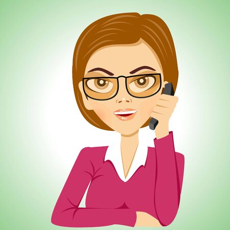 stern: illustration of cartoon strict serious secretary with glasses talking on phone Illustration