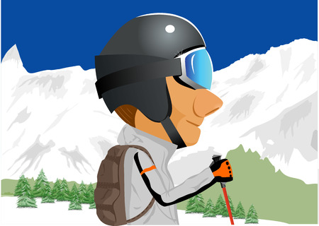 snow capped: illustration of cartoon character of male skier standing amongst snow capped mountains
