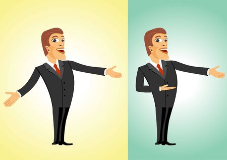 welcoming: illustration of smiling successful business man welcoming you Illustration