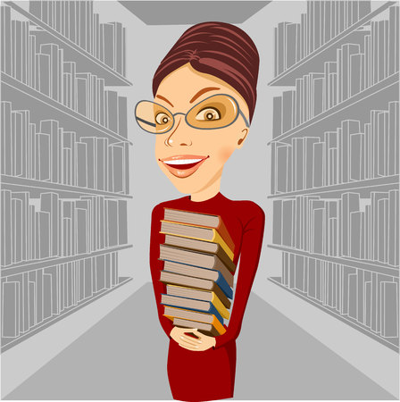 librarian: smiling librarian with glasses standing among bookshelves holding books in her hands Illustration