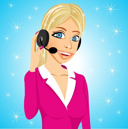 call centre girl: illustration of cartoon smiling attractive customer support operator speaking into microphone