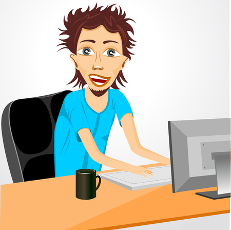wild hair: illustration of smiling programmer working at computer with wild hair