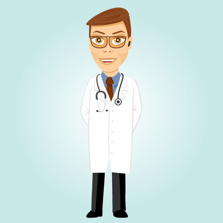 hands behind back: illustration of smiling young doctor with glasses and stethoscope holding his hands behind his back