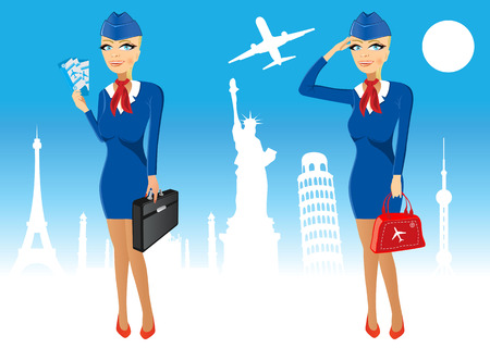illustration of cartoon beautiful attractive stewardess holding briefcase and tickets in poses Vector