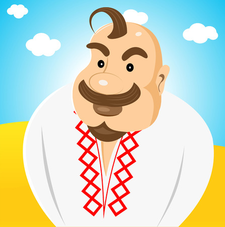 forelock: illustration of cartoon character of ukrainian with forelock on his head standing in the middle of the field and staring