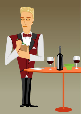 illustration of young meticulous punctual waiter taking order and looking down Иллюстрация
