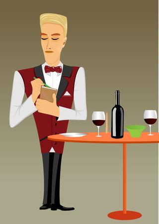 puntual: ilustraci�n de joven para tomar camarero puntual meticulosa y mirando hacia abajo