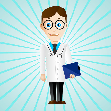 stethoscope boy: illustration of young cartoon doctor with stethoscope and medical chart clipboard