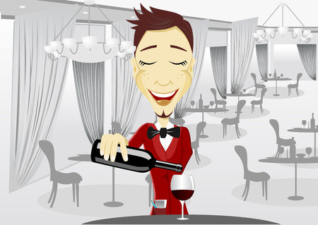 break in: illustration of young smiling waiter pouring wine into glass during break in restaurant