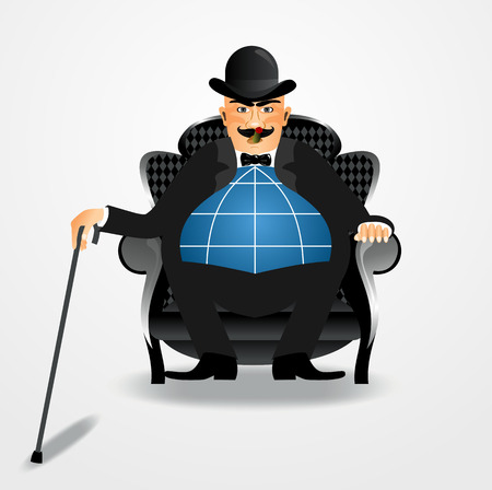 illustration of angry rich banker sitting with a cane smoking a cigar and a globe instead of belly