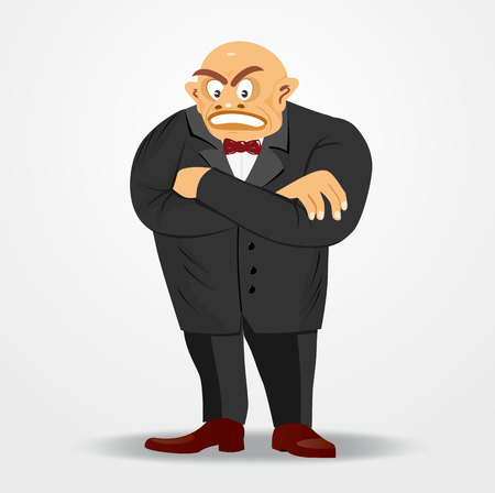 tyrant: illustration of cartoon angry mafia boss in suit with arms crossed