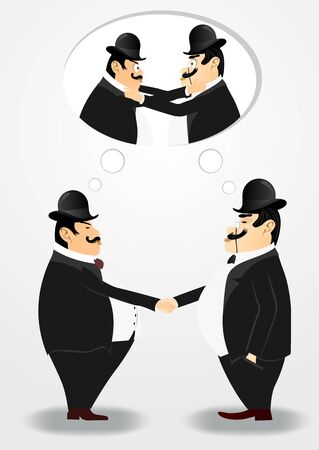 bankers: illustration of two bankers shaking hands but mentally fighting Illustration