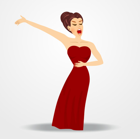 白い背景の上を実行する若い美しいオペラ歌手のイラスト
