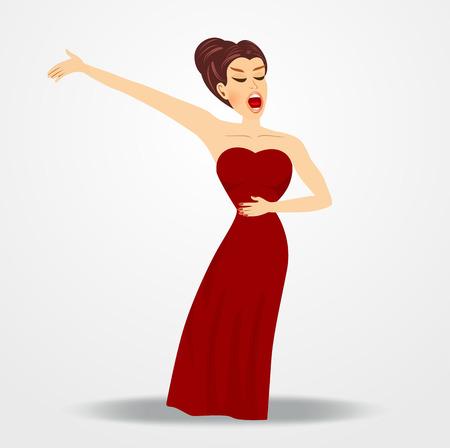 ilustración de la mujer hermosa cantante de ópera que se realiza sobre fondo blanco