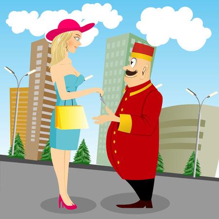 hermosa dama con el bolso que da clave a la sonrisa de botones con el bigote de pie sobre el fondo del paisaje urbano