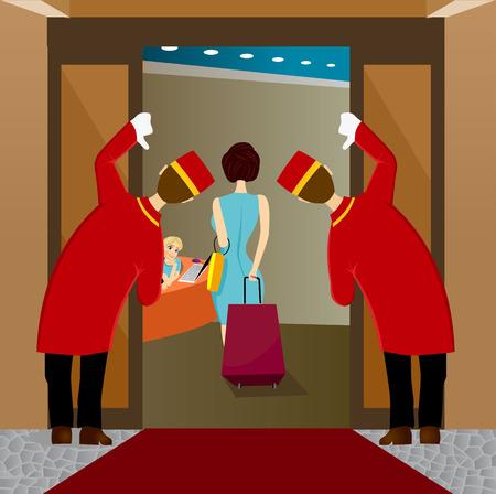 venue: Un fumetto illustrazione di due accogliente hotel o sede portieri o fattorini nel loro colore rosso e le uniformi d'oro guardando donna lasciando
